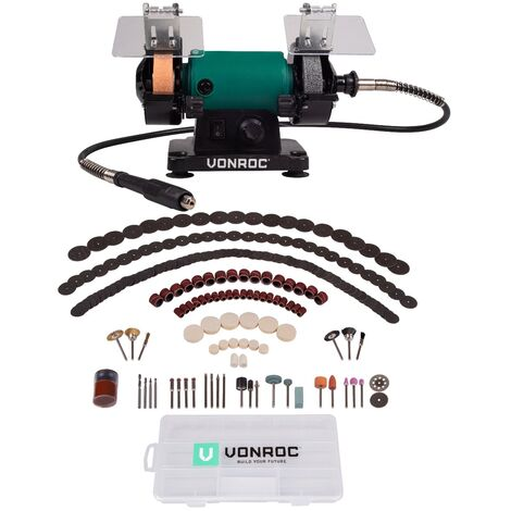 VONROC Smerigliatrice da banco multifunzione 150W - 75mm con albero flessibile. Include 192 accessori
