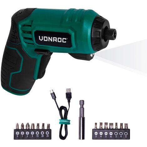 VONROC Avvitatore a batteria 4V. Include set da 14 punte, cavo di ricarica USB-C e custodia
