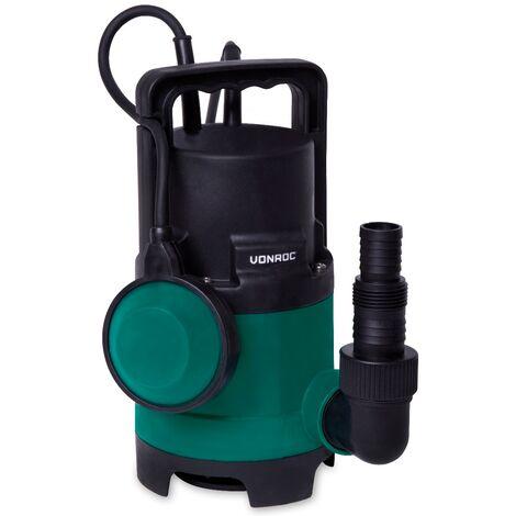 VONROC Pompa sommersa. Pompa ad immersione 400W - 8000l/h per acque sporche e pulite. Con galleggiante