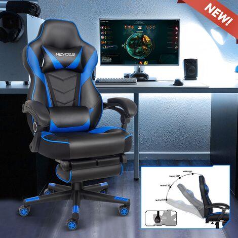 Chaise de jeu en cuir PU à haut dossier, chaises d'ordinateur de course, chaise de jeu ergonomique avec support lombaire