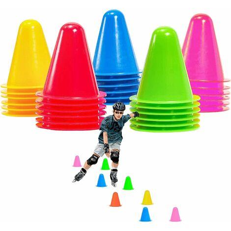 30 pièces 8 cm pylônes de cône de marquage, cônes d'obstacles pour enfants, football, sports, sports équestres, dressage de chiens (jaune / rouge / vert / bleu / rose)