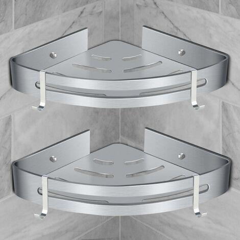 Étagère de douche d'angle étagère de salle de bain sans perçage panier rangement de douche étagère de douche murale en aluminium boîte de rangement deux pièces argent(2*pcs)