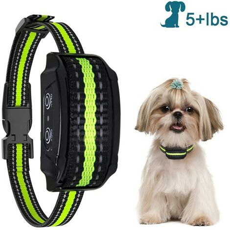 Collier anti-aboiements, version 2020, avec vibrations, sons et chocs électriques, collier de module de détection intelligent des aboiements pour grands, moyens et petits chiens
