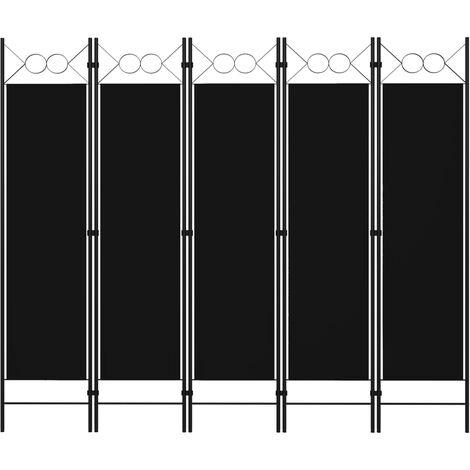 Betterlife Cloison de séparation 5 panneaux Noir 200x180 cm