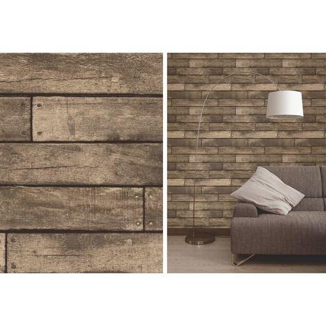 Fine Decor Brown Wooden Plank Realistic Wood Design 3D Effect Wallpaper