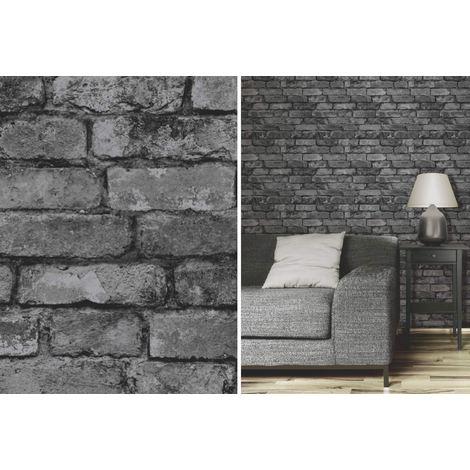 Fine Decor Rustic Brick Effect Charcoal Silver Grey Feature Wallpaper