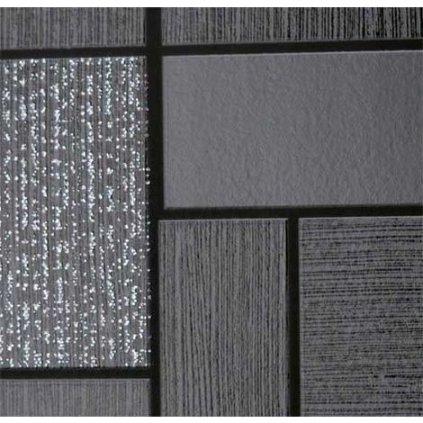 Holden Decor Glitter Tile Black Grey Silver Glittery Washable Wallpaper 89240