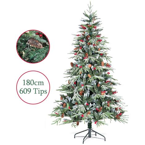 Artificial Christmas Tree 6ft 180cm Ontario Spruce PE Flocked 609 Tips Berry Clusters Pine Cones Snow