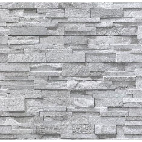 3D Grey Granite Slate Stone Wallpaper Sandstone Brick Effect Rustic Textured