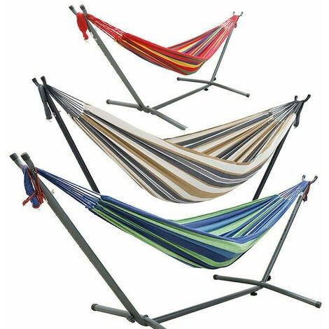Garden Patio Free Stand Hammock With Frame Outdoor Summer Swinging Travel Chairs,Multicolour