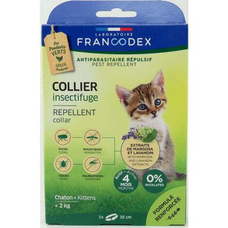 Collar repelente de insectos para gatitos de menos de 2 kg. de longitud 35 cm.