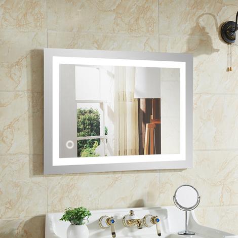 Espejo de baño 50x70, Espejo LED, 22W + Blanco frío + Interruptor táctil