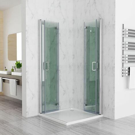 Duschkabine Eckeinstieg Falttür 180º Duschwand Duschabtrennung Dusche 6mm NANO Glas DAF