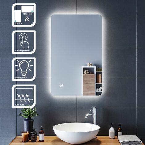 SIRHONA Miroir led 70/80x50 CM Miroir de salle de bains avec éclairage LED Miroir Cosmétiques Mural Lumière Illumination avec Commande par Effleurement