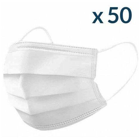 Masques Chirurgicaux Blancs - Boite de 50 - Jetable à usage unique - Norme CE Type II - Blanc