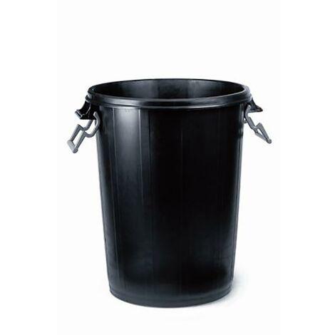 Cubo Basura 100 Lt Ulises Plastico Negro Con Tapa 31129