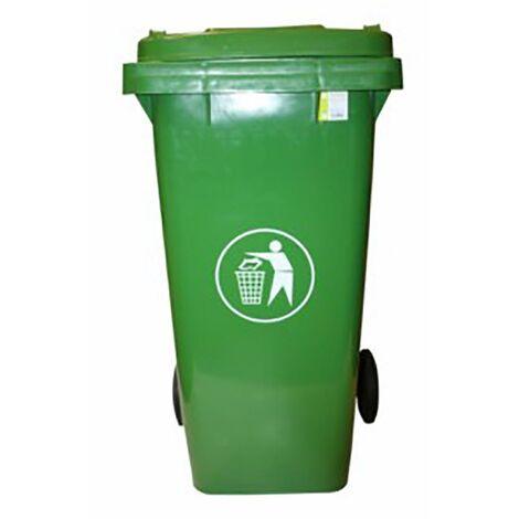Contenedor Basura Con Ruedas Tapa 120 Lt Plastico Verde Natuur Nt125867