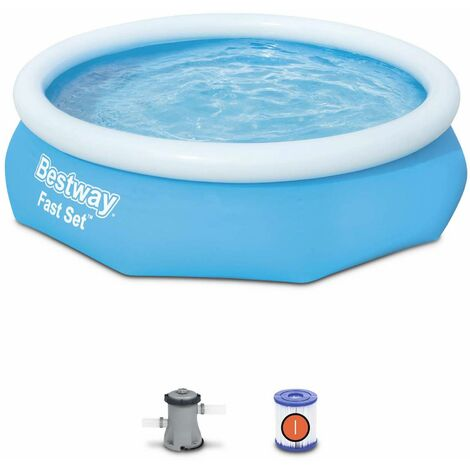 Piscine gonflable autoportante bleue BESTWAY – Diamant ⌀ 300 x 76 cm - piscine hors sol autostable ronde avec filtre à cartouche et 2 cartouches incluses