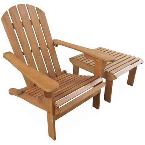 Fauteuil de jardin en bois avec repose-pieds/table basse - Adirondack Salamanca - Eucalyptus . chaise de terrasse retro. siège de plage pliable