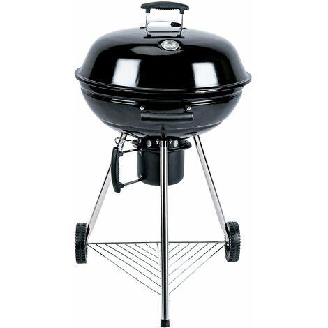Barbecue charbon de bois Ø57cm - Georges - Noir émaillé. barbecue avec aérateurs. émaillé. fumoir. récupérateur de cendres