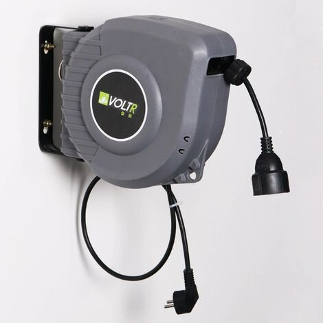 VOLTR - Rallonge électrique murale câble de 15m , enrouleur de jardin automatique avec sécurité thermique, 3200W