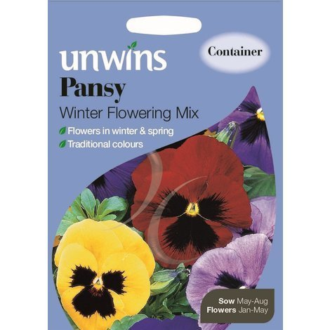 Unwins Pictorial Packet - Pansy Winter Flowering Mix - 150 Seeds