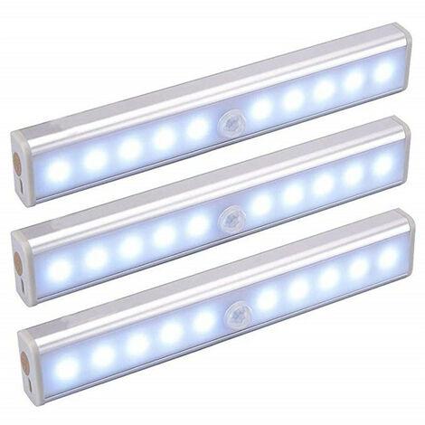 Lot de 3 Lampes LED, Sans Fil, Rechargeable par USB, Aimanté, Détecteur de Mouvement, Portable. Lumière de Placard, Baladeuse de Secours, Veilleuse Enfant