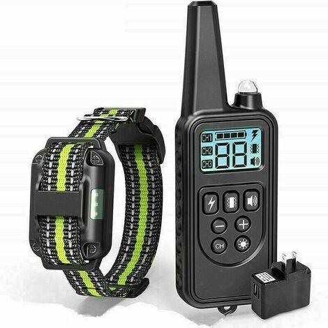 Collier de Dressage pour Chiens Rechargeable et IP67 Étanche avec Distance de 800m avec 99 Niveaux de Mode Vibration,Sonore, Choc Electrique(noir)
