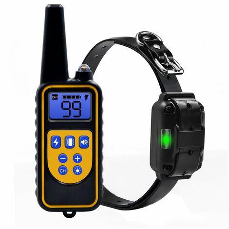 Collier de Dressage pour Chiens Rechargeable et IP67 Étanche avec Distance de 800m avec 99 Niveaux de Mode Vibration, Choc Electrique, Sonore.