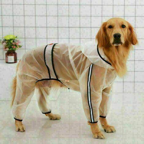 Manteau imperméable pour chiens de petite taille et chats, avec capuche, réglable, transparent, et ultra-léger XL