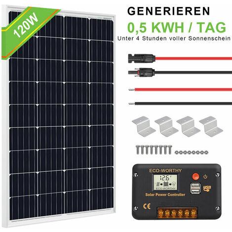 Kit pannello solare 120W mono caricabatteria 12V staffe in alluminio per camper camper