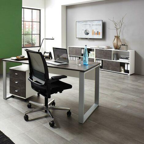 Büromöbel Set MERIDA-01, Weiß / Basalto-Dunkel, 4-teilig