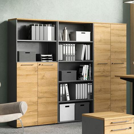 Aktenschrank Büromöbel Set AURAY-01 in Graphit mit Grandson-Eiche, BxHxT: ca. 240x197x40 cm