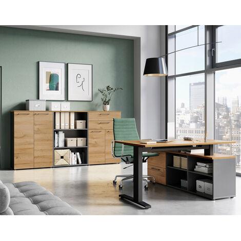 Büromöbel Set mit Winkelschreibtisch AURAY-01 graphit mit Grandson-Eiche Nb