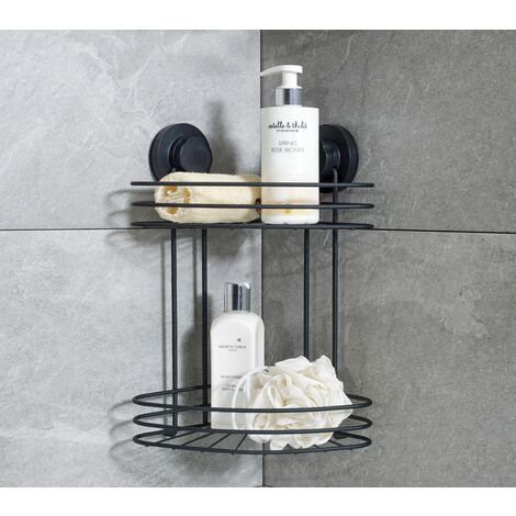 Black Suction Fixed 2 Tier Corner Bathroom Caddy