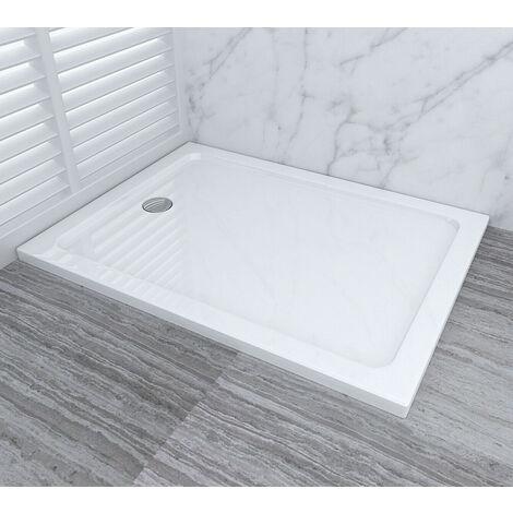 Shower Enclosure Tray Slimline Rectangular Acrylic Shower Base With Drain + Free Waste Trap