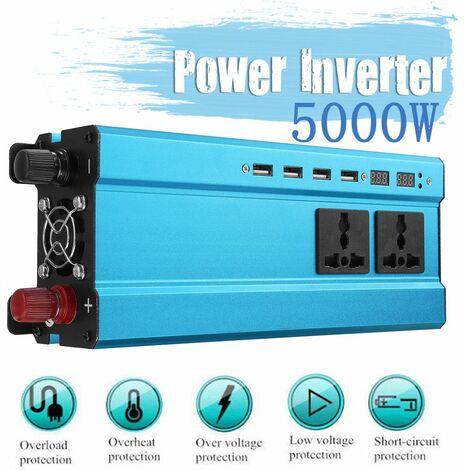 Convertitore onda sinusoidale USB 5000W/4000W/3000W DC 12V/24V a AC 220V 4 USB (blu 5000W 12V-220V)