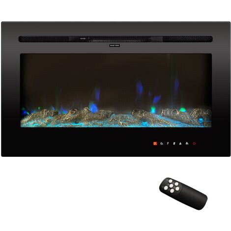 50 Inch Electric Fireplace Insert Recessed 12 Flamer Color Wall Mounted Fireplace with Touch Screen Control Panel and Remote Control Free Standing Fireplace Heater