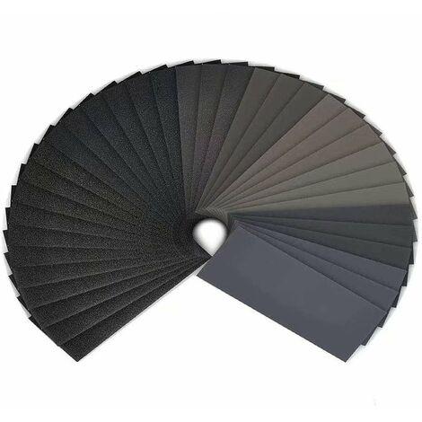 Papier de verre, 120 à 3000 Grain Papier abrasif eau/sec 9 x 3,6 pouces, Utilisé pour polir le métal, le bois, les voitureshumide(42 Papier)