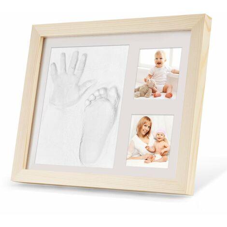 SOEKAVIA Empreinte de main et empreinte de bébé, cadre photo en bois pour bébé avec plâtre, pied de bébé ou ensemble d'empreintes de main, empreinte de main de bébé, cadeau de douche de bébé idéal - Souvenirs pour l'éternité