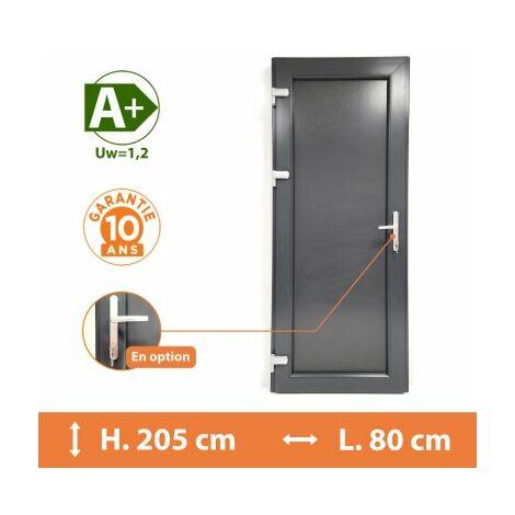Porte de service pleine - Gris - Tirant Gauche - H.215 x l.80 cm - Gris