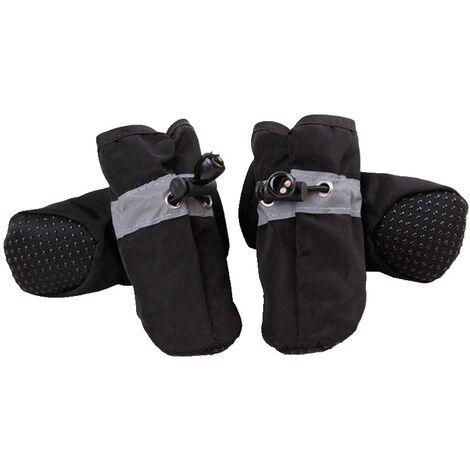 Triomphe Protection des pattes de chien, chaussures pour chiens d'hiver antidérapantes, avec bande réfléchissante, convient aux petits, moyens et grands chiens. Ensemble 4 pièces noir