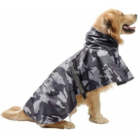 Manteau de pluie pour chien réfléchissant avec capuche - Veste pour chien ultra légère et respirante - Housse de pluie pour chiens de taille moyenne et grande (gris, XL)