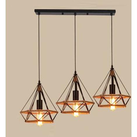 Lustre Suspension 3 Lumières en Corde De Chanvre E27 pour Salon Couloir Cuisine Noir