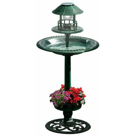 fontaine abreuvoir à oiseaux sur pied avec lampe solaire et mangeoire