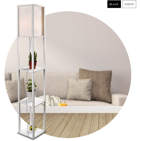 Stehlampe mit Holzregal Innenbeleuchtung Holz Stehleuchte mit Regalen 26 x 26 x 160 cm