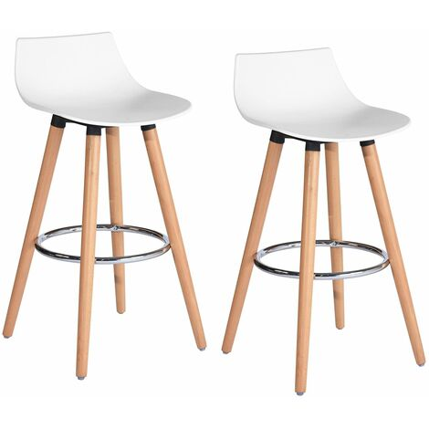 Lot De 2 Tabourets De Bar Scandinave Blancs Pp Plastique Bois
