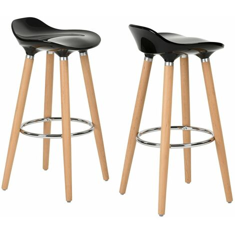 Lot De 2 Tabourets De Bar Noir Abs Bois