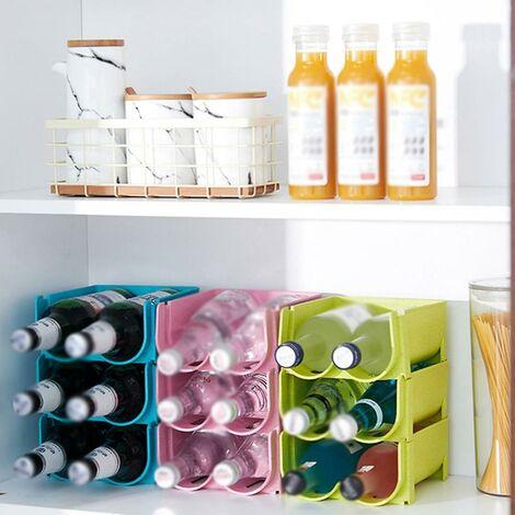 Lot de 3 réfrigérateur organisateur boîte de rangement congélateur garde-manger bière bleu bouteille boisson boîte de rangement