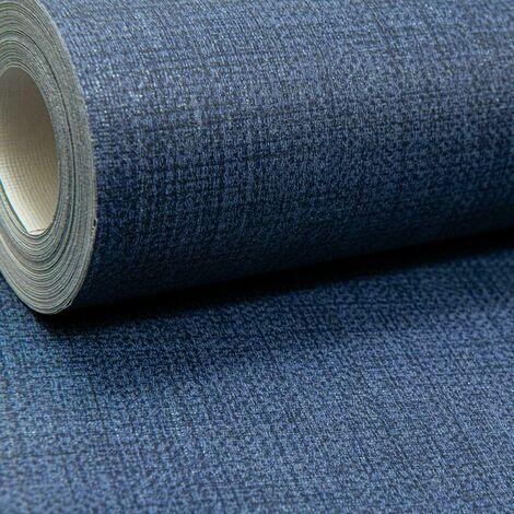 Dark Navy Midnight Blue Plain Wallpaper Subtle Shine Shimmer Woven Linen Effect